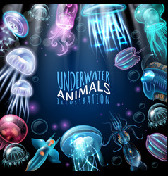 underwater animals frame background vector image