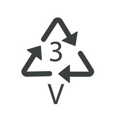 V 3 recyclable product symbol plastic recycling vector