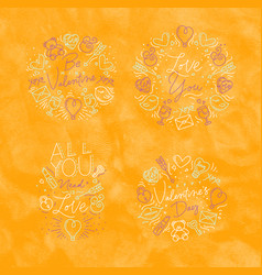 valentines day flat monograms yellow vector image