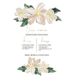 wedding bar menu template with tender flowers and vector image