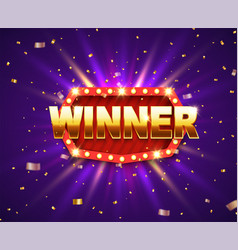 winner shiny banner with glowing lamps and gold vector image