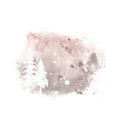 Winter christmas art card hand-painted watercolor vector