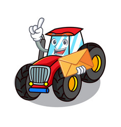 With envelope tractor character cartoon style vector