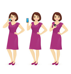 woman in dress with the phone vector image