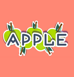 Word apple is isolated on a colored background vector