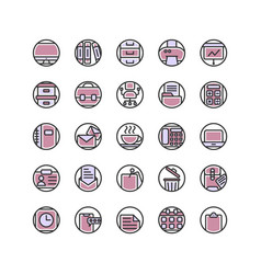 Work office filled outline icon set vector