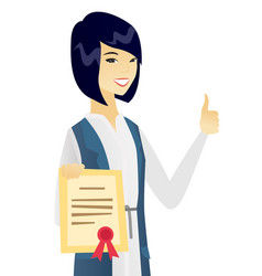 Young asian business woman holding a certificate vector