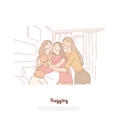 young happy girlfriends hugging together vector image