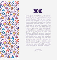 zodiac signs concept with thin line icons vector image