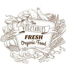 Outline hand drawn sketch vegetable wooden frame vector image