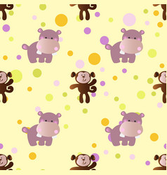 pattern with cartoon cute baby behemoth and monkey vector image