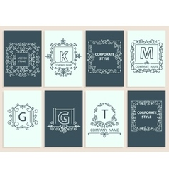 Set cards ornamental logo frame monogram vector image