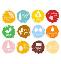set food labels allergens food intolerance symbol vector image vector image