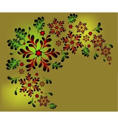 The pattern of red flowers and leaves EPS10 vector image