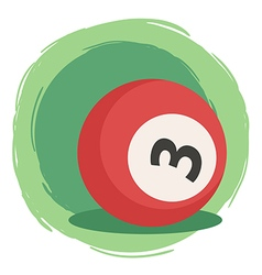 Billiard Ball Number 3 Red vector image vector image