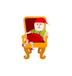 flat santa claus sitting at armchair vector image vector image