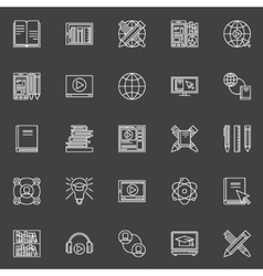 Internet education icons set vector image vector image