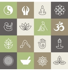 Yoga symbols and poses for pilates studio or zen vector image vector image