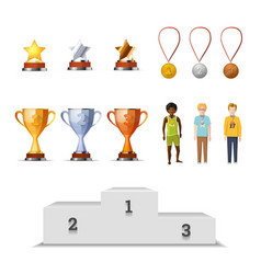 Big set of winners awards with medals cups and vector image