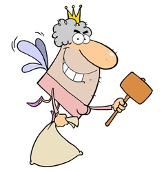 Caucasian tooth fairy flying with a bag and mallet vector