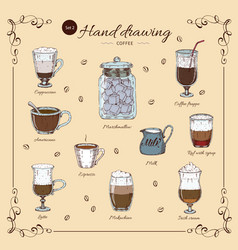 coffee hand drawn colored set vector image vector image