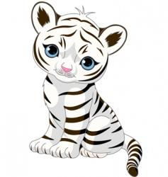 cute white tiger cub vector image vector image