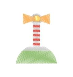 drawing lighthouse island sea navegation signal vector image
