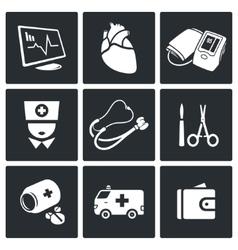 Emergency medicine icons set vector