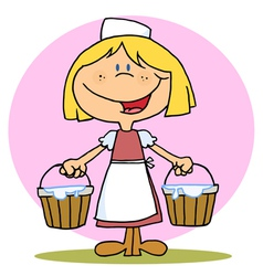 Friendly Blonde Maid Carrying Milk Buckets vector image vector image