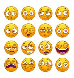 funny comic cartoon yellow smiley faces set vector image vector image