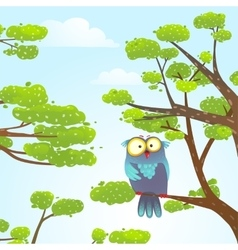 Owl sittin on tree in wild nature in sky with vector image vector image