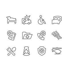 Lined Medical Transportation Icons vector image