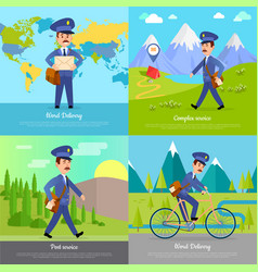 world delivery banner postman mailman on bicycle vector image vector image
