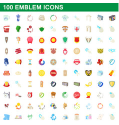 100 emblem icons set cartoon style vector image