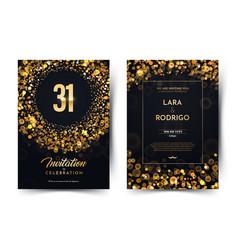 31st years birthday black paper luxury vector