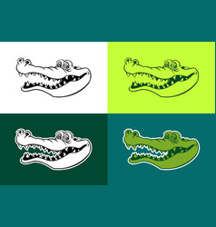 Alligator outline silhouettes vector