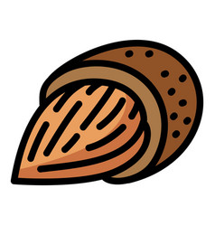 Almond food icon outline style vector