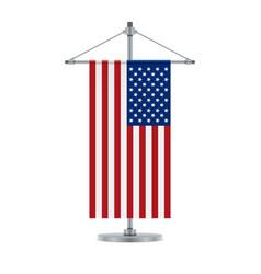 american flag on the cross metallic pole vector image