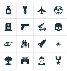 army icons set collection cranium rocket vector image