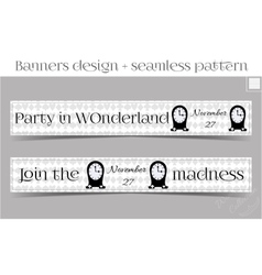 Banners party in wonderland - clocks vector