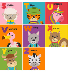 basic rgbalphabet card with cute animals s to z vector image