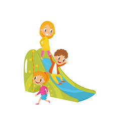 boy and girls playing on a slide kids on a vector image