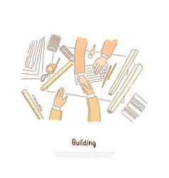 business meeting negotiation building plan vector image
