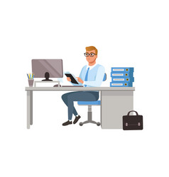 businessman working with laptop computer at his vector image