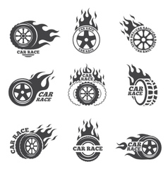 Car race logo set Wheel with fire flame vector