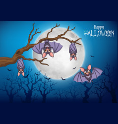 cartoon funny bats hanging on tree with halloween vector image
