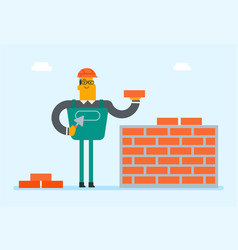Caucasian white builder building a brick wall vector