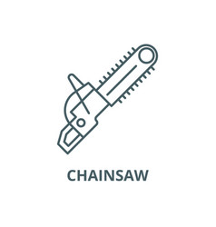 chainsaw line icon chainsaw outline sign vector image