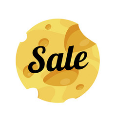 Cheese sale label round shape on white background vector
