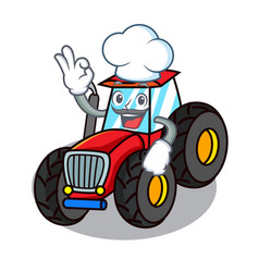 Chef tractor character cartoon style vector